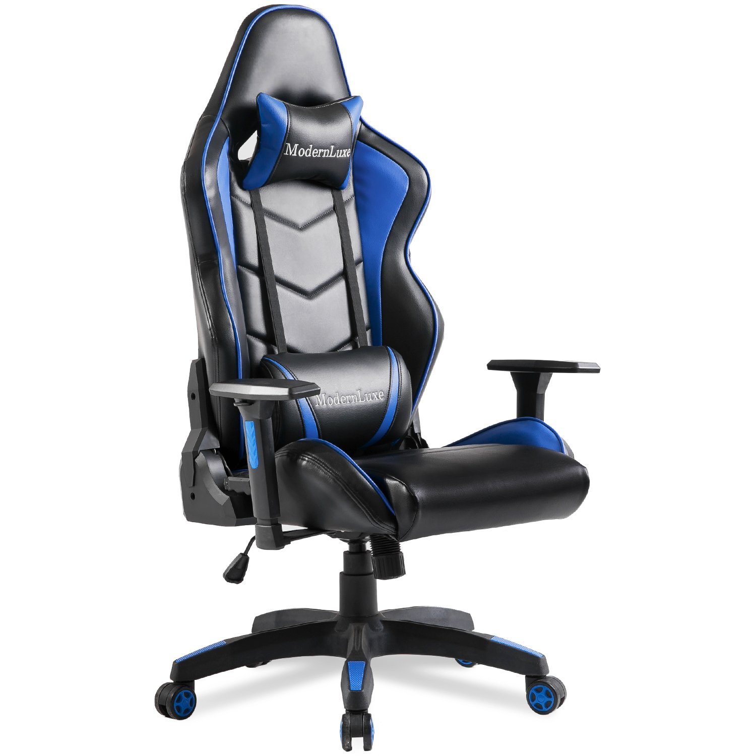 Modern Luxe Video Gaming Chair Executive Swivel Racing High Back Office Chair Lumbar Support Ergonomic with Headrest (Blue)