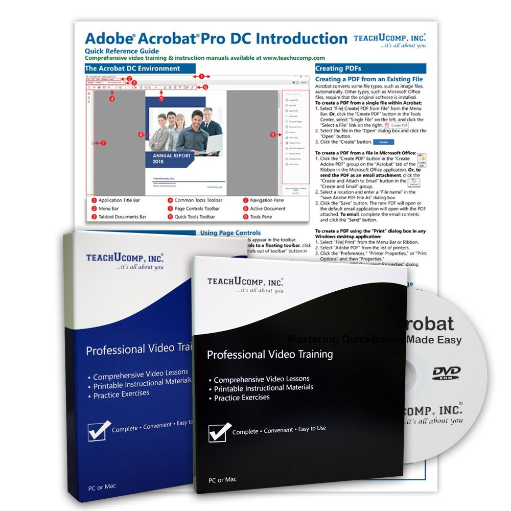 Learn Adobe Acrobat Pro DC DELUXE CPE Training Tutorial Package- Video Lessons, PDF Instruction Manuals, Printed and Laminated Quick Reference Guide, Testing Materials, and Certificate of Completion by TeachUcomp Inc.