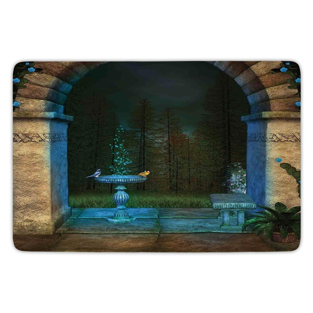 Bathroom Bath Rug Kitchen Floor Mat Carpet,Gothic,Forest Landscape from Ancient Archway Birds on Fountain Fairytale Illustration,Blue Grey Green,Flannel Microfiber Non-slip Soft Absorbent