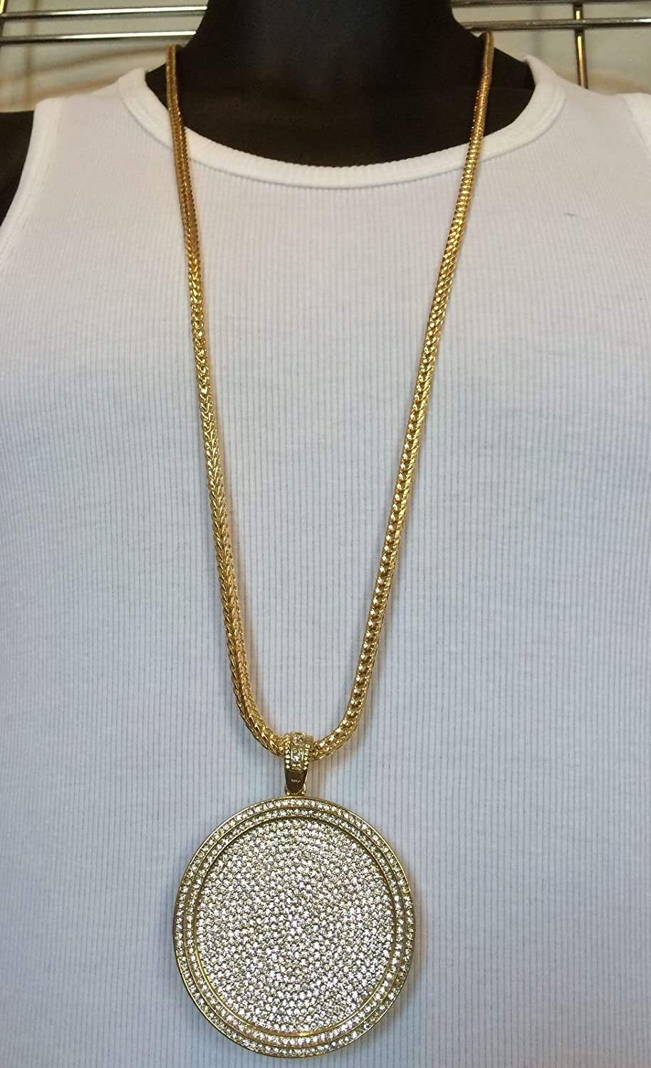 Bitter Sweet Store Mens Iced Out Hip Hop Gold Round Cz Medallion Pendant 36 Franco Chain Necklace Amazon Com