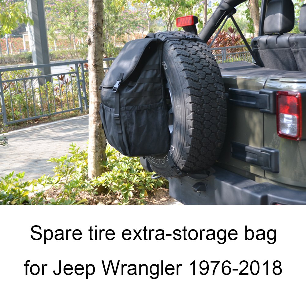 Joytutus For Jeep Wrangler Cargo Storage Bag Spare Tire Backpack Organizer for JK YJ TJ FJ 1976-2018