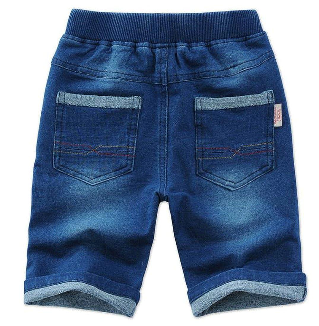 Etecredpow Boy Straight Leg Casual Washed Denim Classic Jeans Shorts