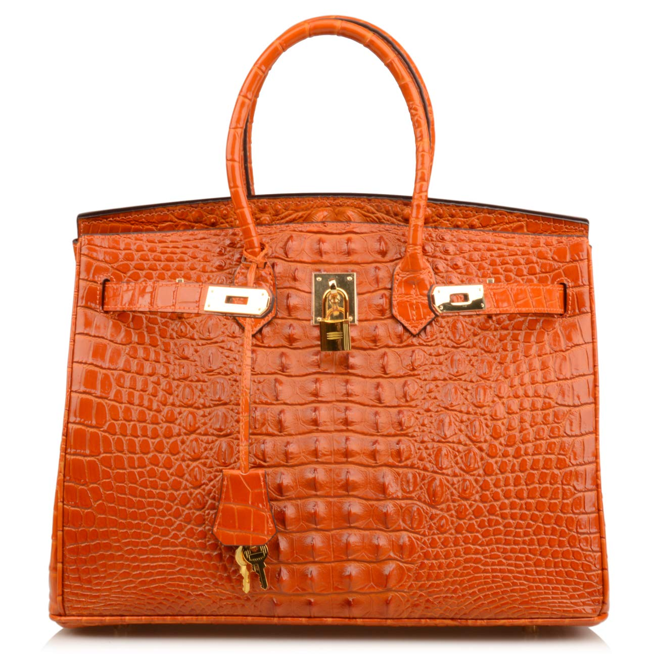Qidell Women's Padlock Handbags Genuine Leather Crocodile Embossed Purse (13.8'' (35cm), Orange)