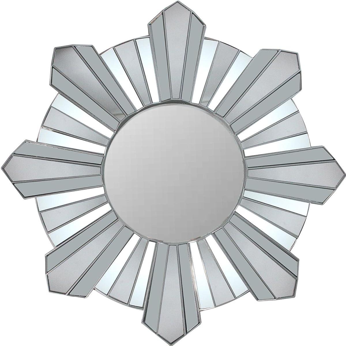 """Northlight 25"""" Sparkling Sunburst Wave Matte Silver Decorative Round Wall Mirror"""