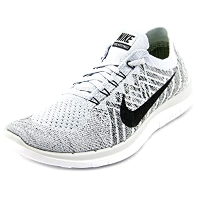 Nike Free 4.0 Flyknit 717076-005 Pure PlatinumBlackWhite Womens Running  Shoes