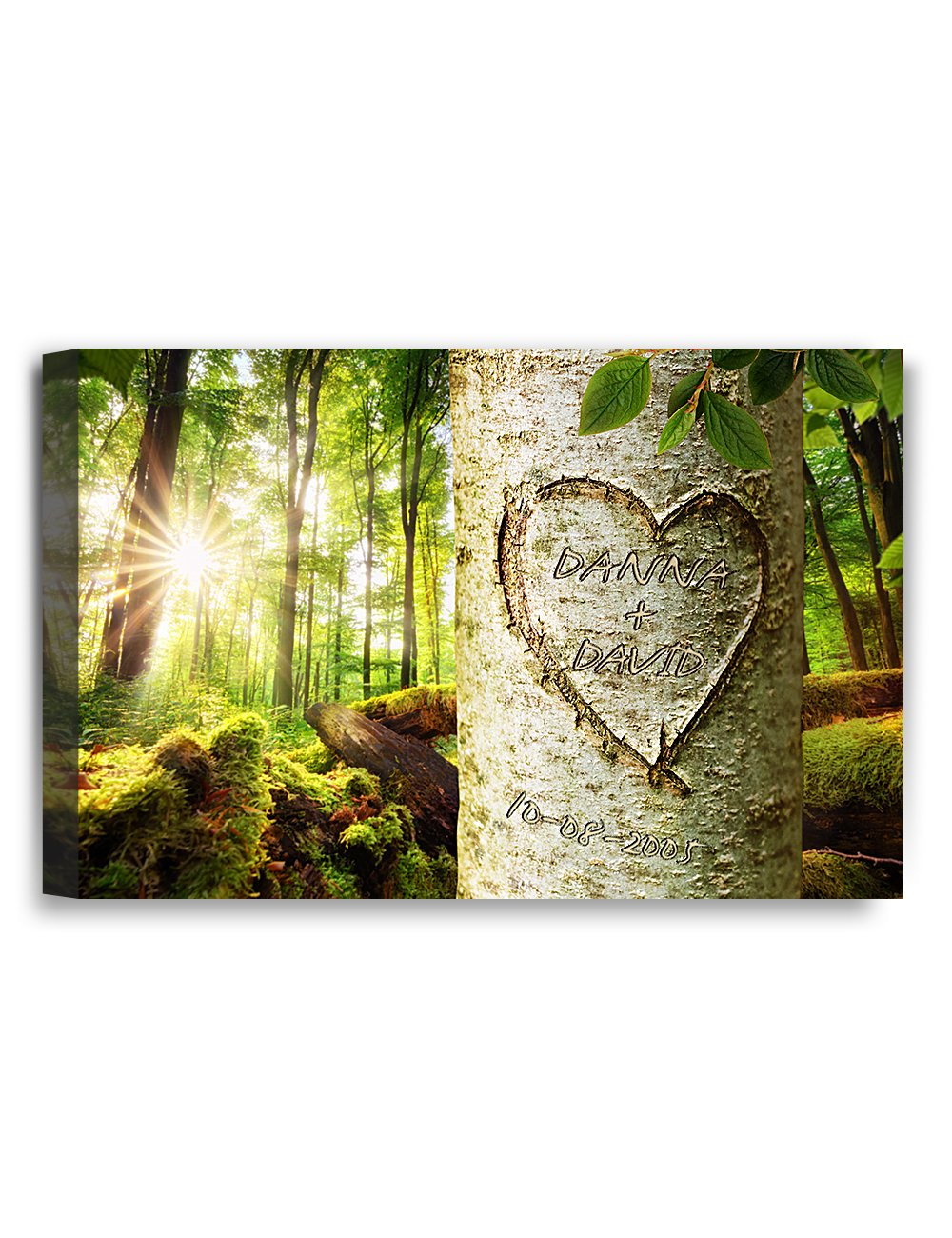 IPIC - ''Love Evergreen'', Personalized Artwork with Names and Date on, Perfect love gift for Anniversary,Wedding,Birthday and Holidays. 7#P (18x12'') by IPIC