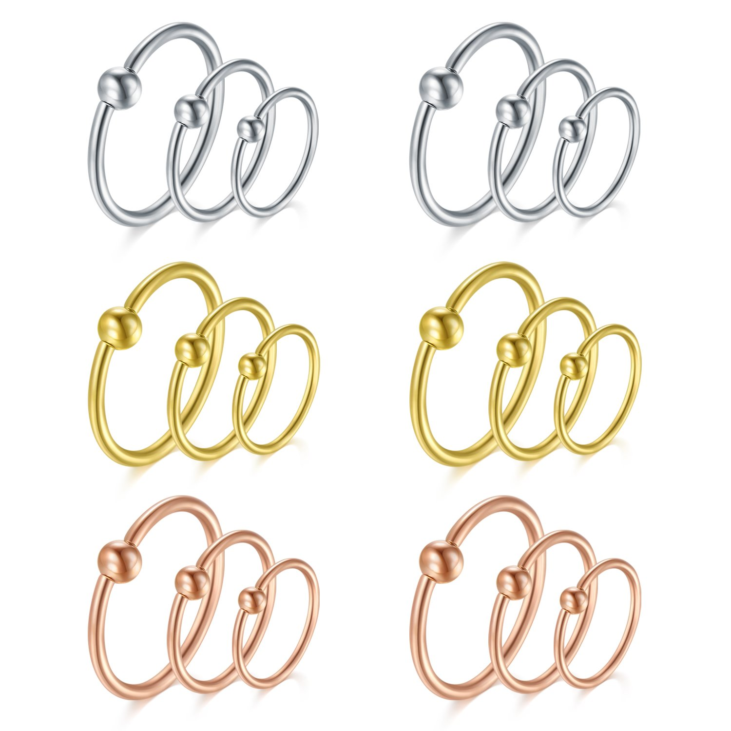 vcmart Cartilage Earring-16G Nose Rings Hoop Captive Bead Rings 8mm Surgical Steel Eyebrow Tragus Helix Septum Piercing Ring 18pcs Gold Silver Rose Gold