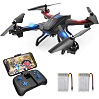 SNAPTAIN S5C WiFi FPV 720P HD Camera, Best Drone for Beginners with Altitude Hold, Voice Control, G-Sensor, Trajectory Flight, 3D Flips, Headless Mode, One Key Operation, 2 Batteries, Black