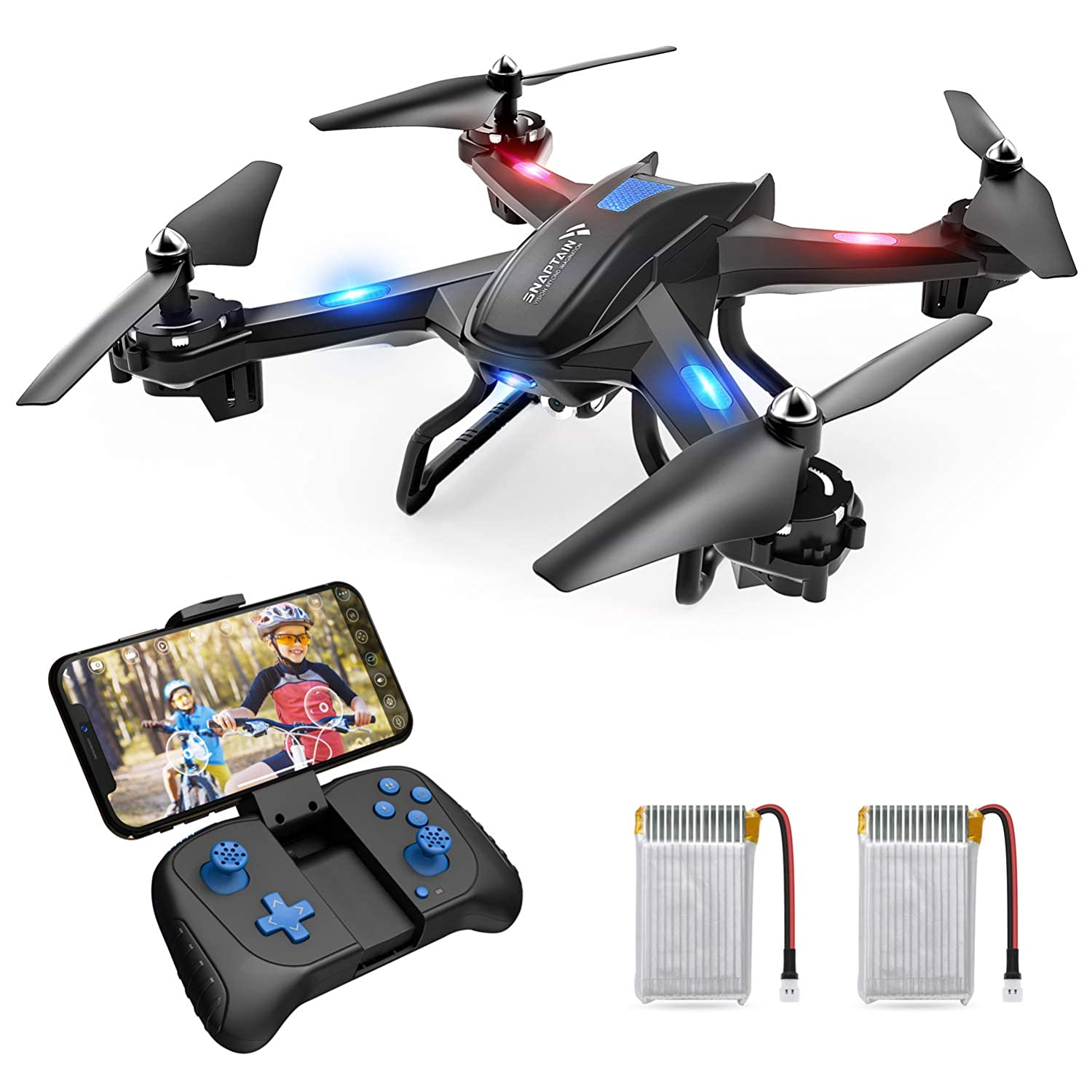 SNAPTAIN S5C Wifi FPV Drone with 720P HD Camera, Best Drone for Beginners with Altitude Hold, Voice Control, G-Sensor, Trajectory Flight, 3D Flips, Headless Mode, One Key Operation, 2 Batteries
