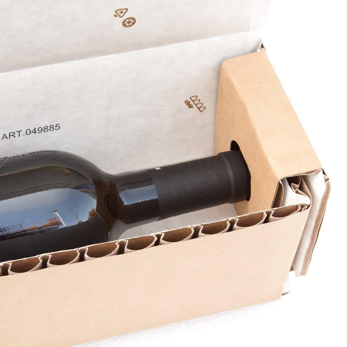 Boîte à bouteilles cArtù : boîte de transport écologique pour des bouteilles de 29 à 30 cm de hauteur et de 7 à 8, 5 cm de diamètre. Ensemble de 6 boîtes emballées à plat. Grifal SpA