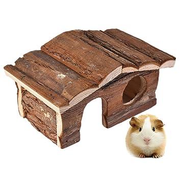Hamster Toys - Caseta de madera natural de doble cubierta de lujo para pequeños áimos, masticar, jugar al senderismo: Amazon.es: Productos para mascotas