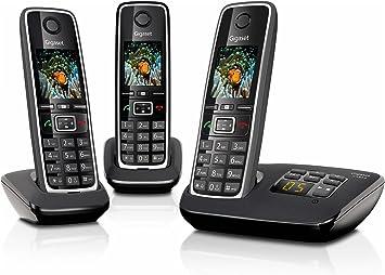 Gigaset C530A Trio - Teléfono (Teléfono DECT, Terminal inalámbrico, Altavoz, 200 entradas, Identificador de Llamadas, Negro): Amazon.es: Electrónica