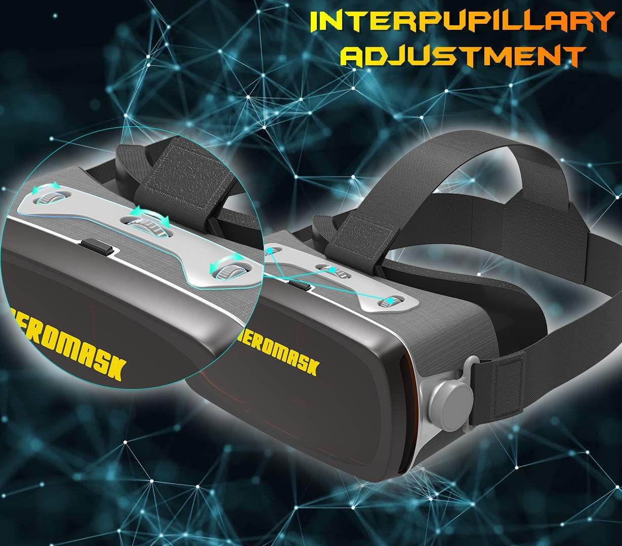 GQ-HOME 90 /° FOV AR Headset,Gafas De Realidad Virtual,para Videojuegos De Pel/ículas 3D VR,Realidad Aumentada De Video Inteligente AR,Auriculares VR Compatibles con iPhone Y Tel/éfono Android