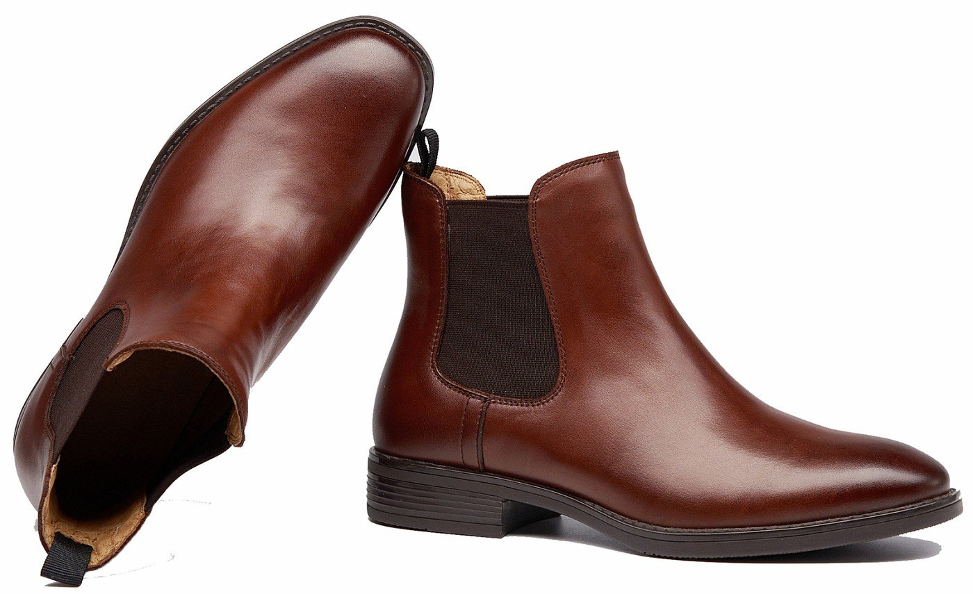 U-lite Womens Fall Winter Wing-Tip Comfortable Brogue Leather Chelsea Ankle Boots Women Booties B075TX72TF 8.5 B(M) US|Brown-a With Fuax Fur Lining