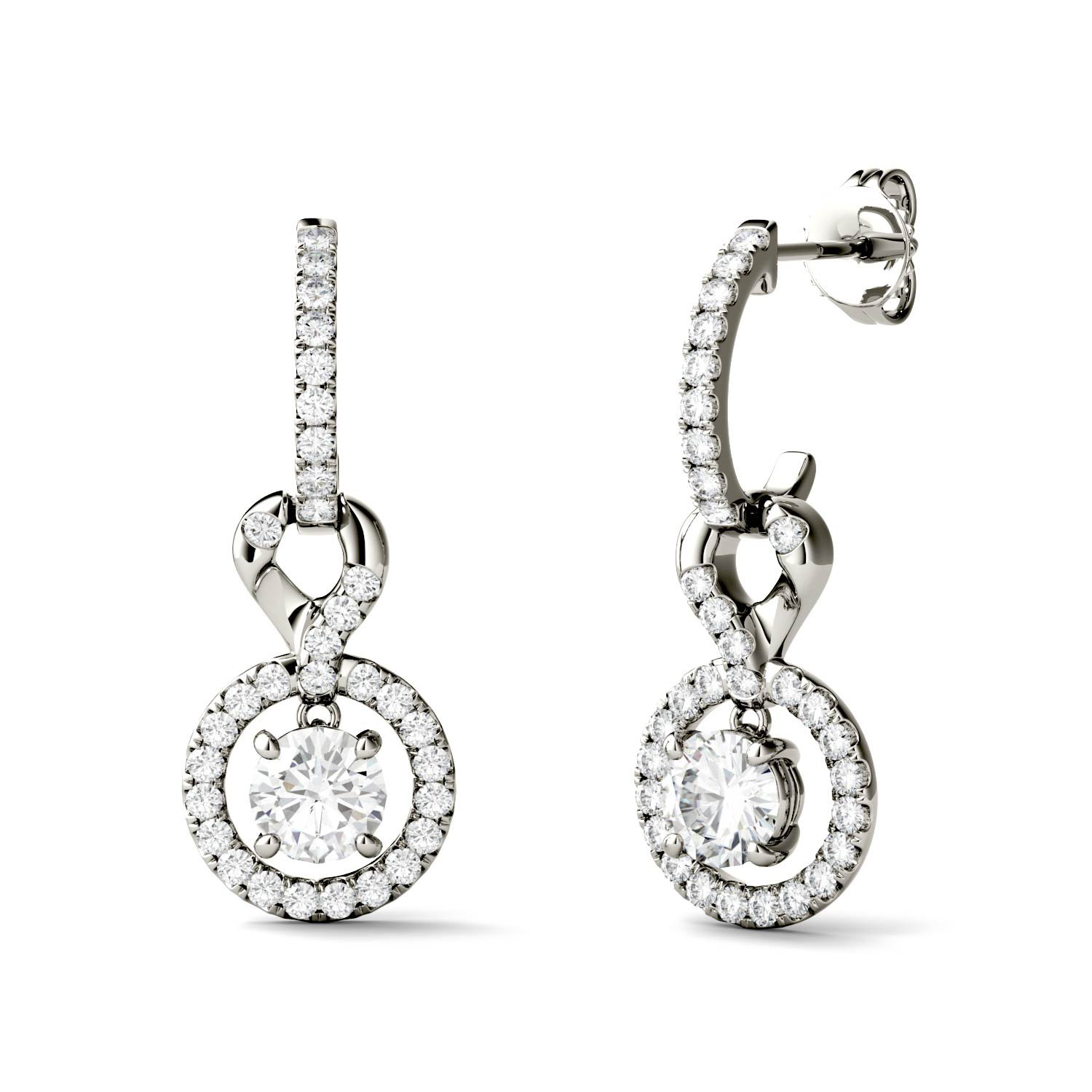 Forever Brilliant 5.0mm Round Moissanite Halo Drop Earrings, 1.64cttw DEW By Charles & Colvard