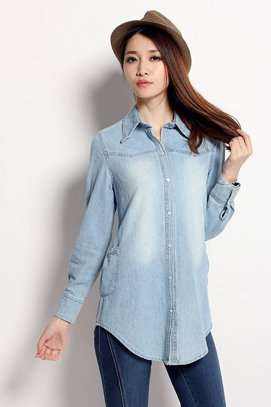 Women Jeans Blouse Tops Style : 3   Size : Xl Chariot Trading asian Size
