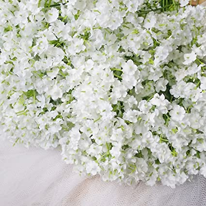 Amazon bringsine baby breathgypsophila wedding decoration bringsine baby breathgypsophila wedding decoration white colour real touch artificial flowers 30 pieces junglespirit Image collections