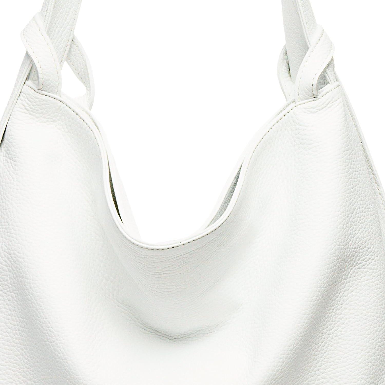 Caspar TL786 kvinnors stora 2-i-1 axelväska och ryggsäck äkta läder Vitt