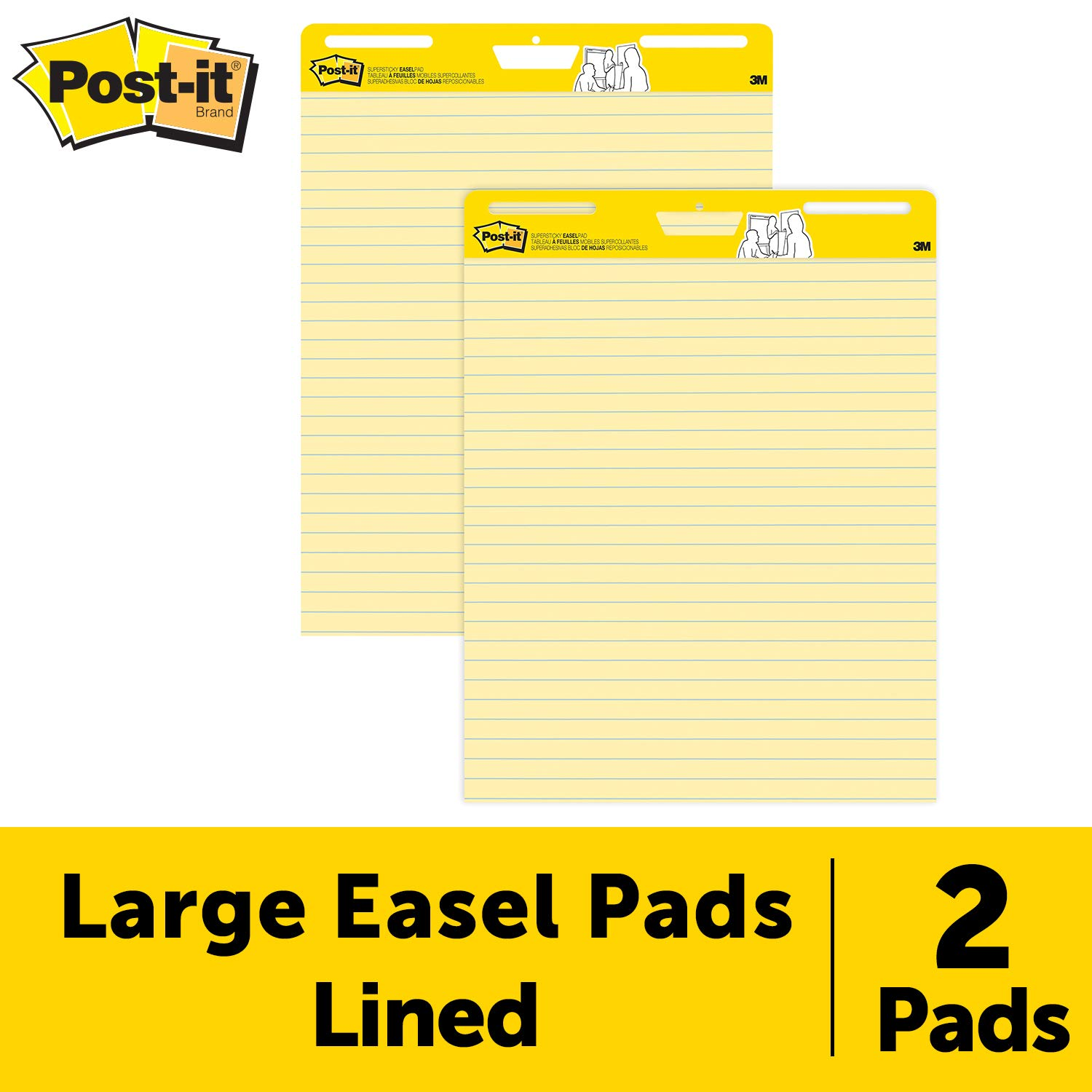 Post-it Super Sticky Easel Pad, 25 x 30 Inches, 30 Sheets/Pad, 2 Pads (561), Yellow Lined Premium Self Stick Flip Chart Paper, Super Sticking Power