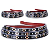 Truck Bed Light Strip, KUFUNG 3PCS 60'' 405-SMD-LED White LED Strip with On/Off Switch, Blade Fuse Splitter Extension Cable,