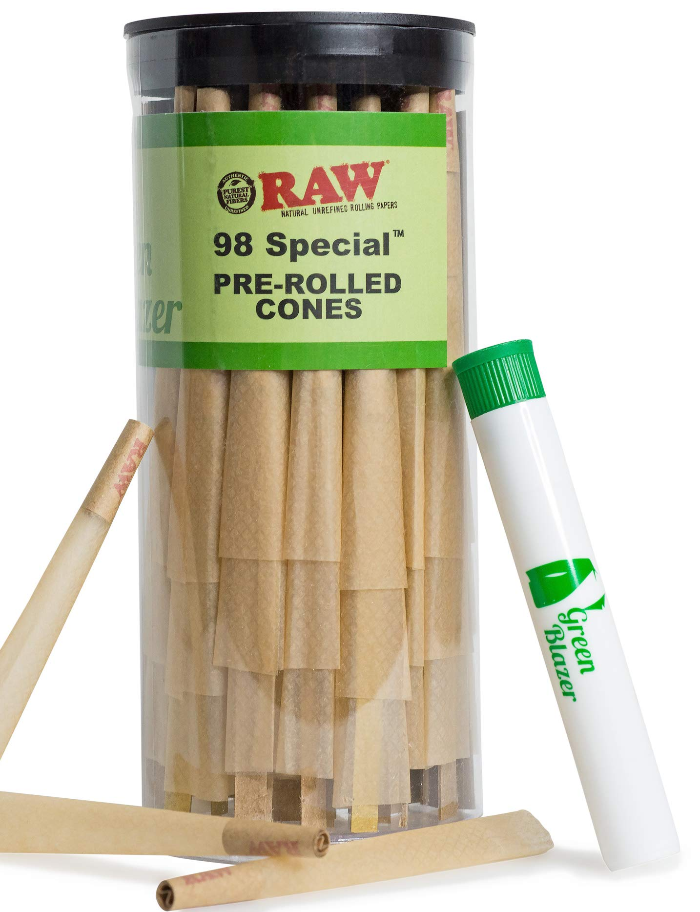 RAW Pre Rolled Cones 98 Special: 100 Pack |Rolling Papers with Filter Tips | Clean & Slow Burning RAW Cone | Bonus Doob Tube Included