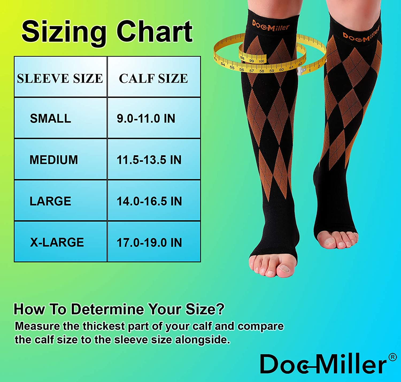 Doc Miller Open Toe Compression Socks 1 Pair 20-30mmHg