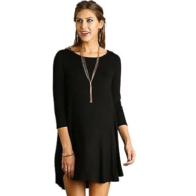 cf1ed882c1f Umgee UGE USA Casual T-Shirt Dress Pockets Simple Loose 3 4 Sleeve ...