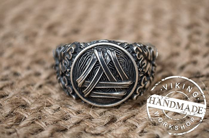 a8a7bef4c633c Amazon.com: Valknut Symbol with Oak Leaves and Acorns Sterling ...