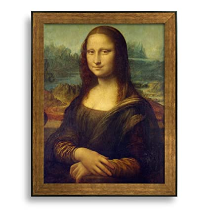 Framed picture Da Vinci Wooden Frame Wall Picture Poster Deco Art