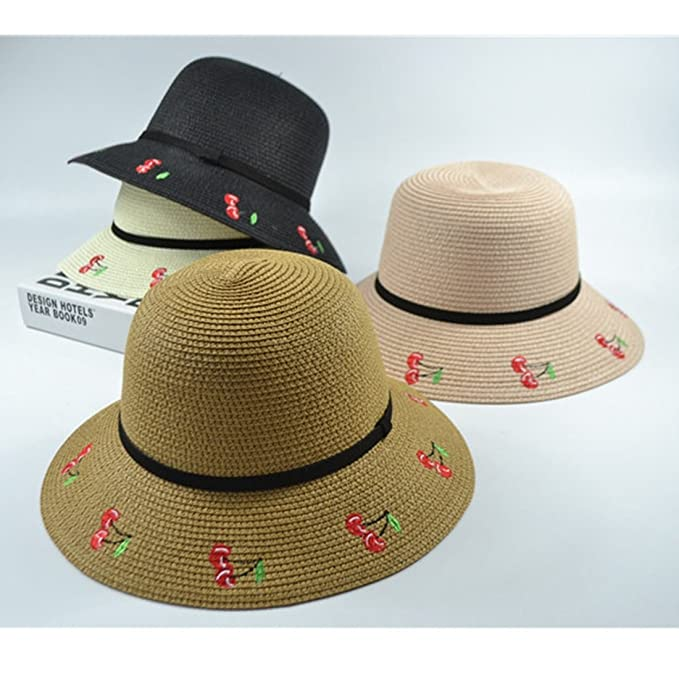 3b914c2efee KTYX Korean Version Of The Sunscreen Tide Summer Travel Shade Straw Hat  Chinese Style Embroidery Cherry Big Bang Beach Visor Cap Summer Hat (Color    Navy