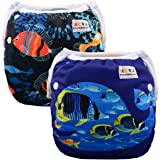 ALVABABY Swim Diapers 2pcs One Size Reuseable &Adjustable 0-24 mo.Size 10-40lbs SWD29-31