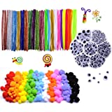 1000 pcs Craft Pipe Cleaners Glitter Chenille Stems Bundle including 200 Pipe Cleaners, 200 Pom Poms, 600 Wiggle Eyes in a Box