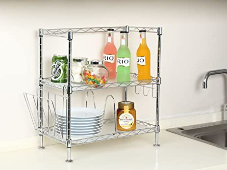 Incroyable Steel Kitchen Counter Shelf   Wire 2 Shelving Unit Free Standing (Silver)