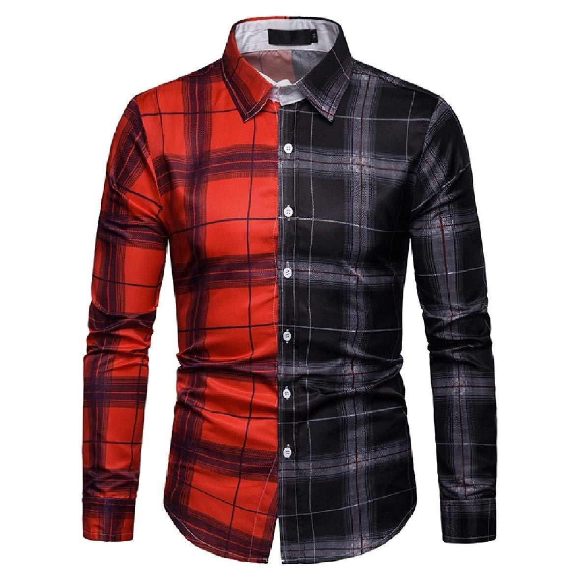 Zimaes-Men Oversize Hit Color Plaid Mid-Long Tshirt Top Shirt