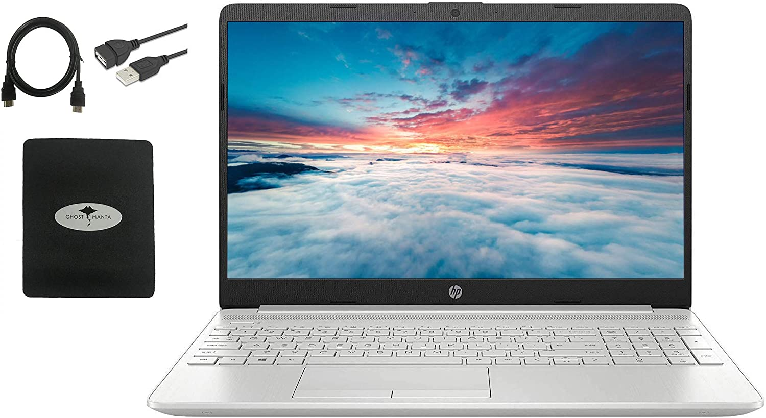 2021 Newest HP 15.6 HD Laptop for Business and Student, WLED-Backlit Display, AMD Ryzen 3 3250U(Up to 3.5GHz), 16GB RAM, 1TB HDD+256GB SSD, Ethernet, WiFi, Fast Charge, HDMI, w/Ghost Manta Accessories
