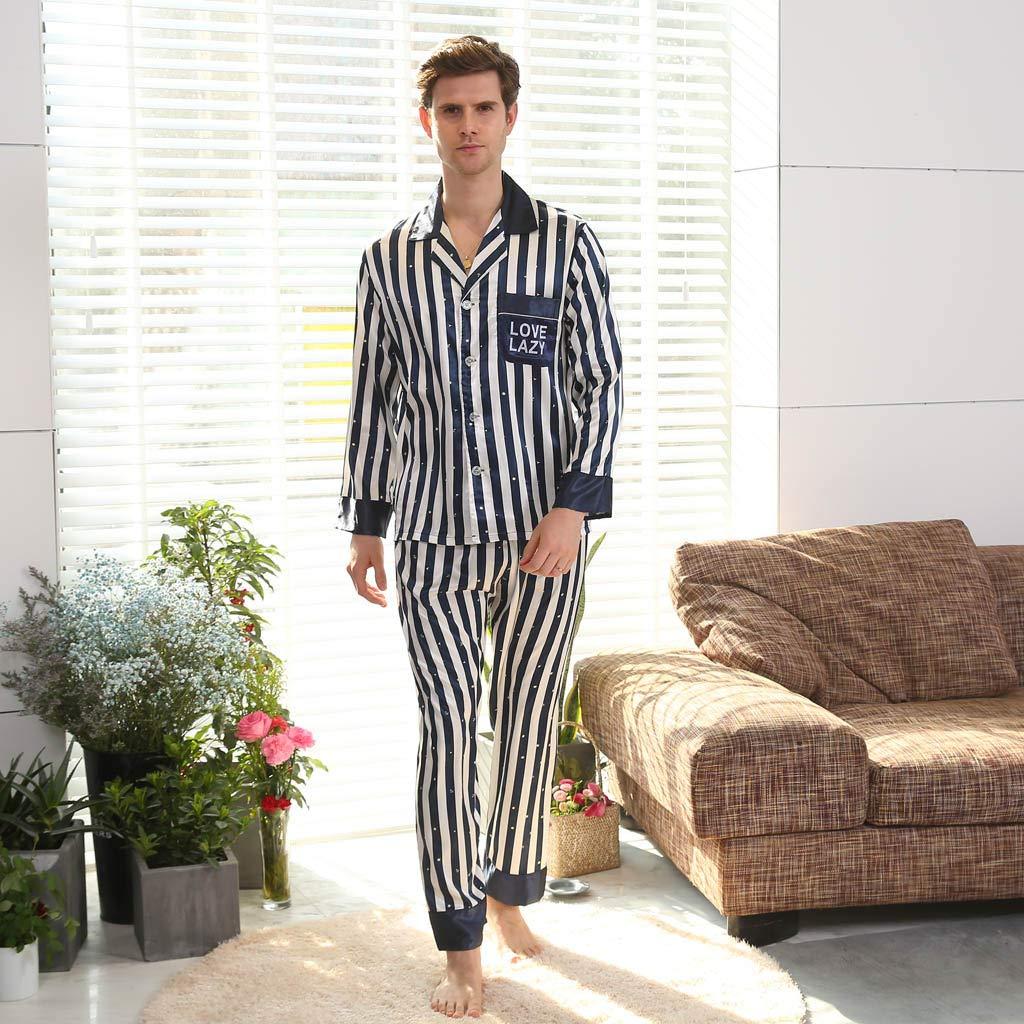 Pijamas Hombre Traje de Manga Larga de Color Liso Ropa de Dormir de Fiesta de Celebraci/ón Rendimiento Fannyfuny