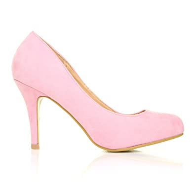 PEARL Baby Pink Faux Suede Stiletto High Heel Classic Court Shoes ...