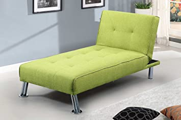 New York Fabric Chaise Longue 1 Seater Sofa Bed By Sleep Design Green