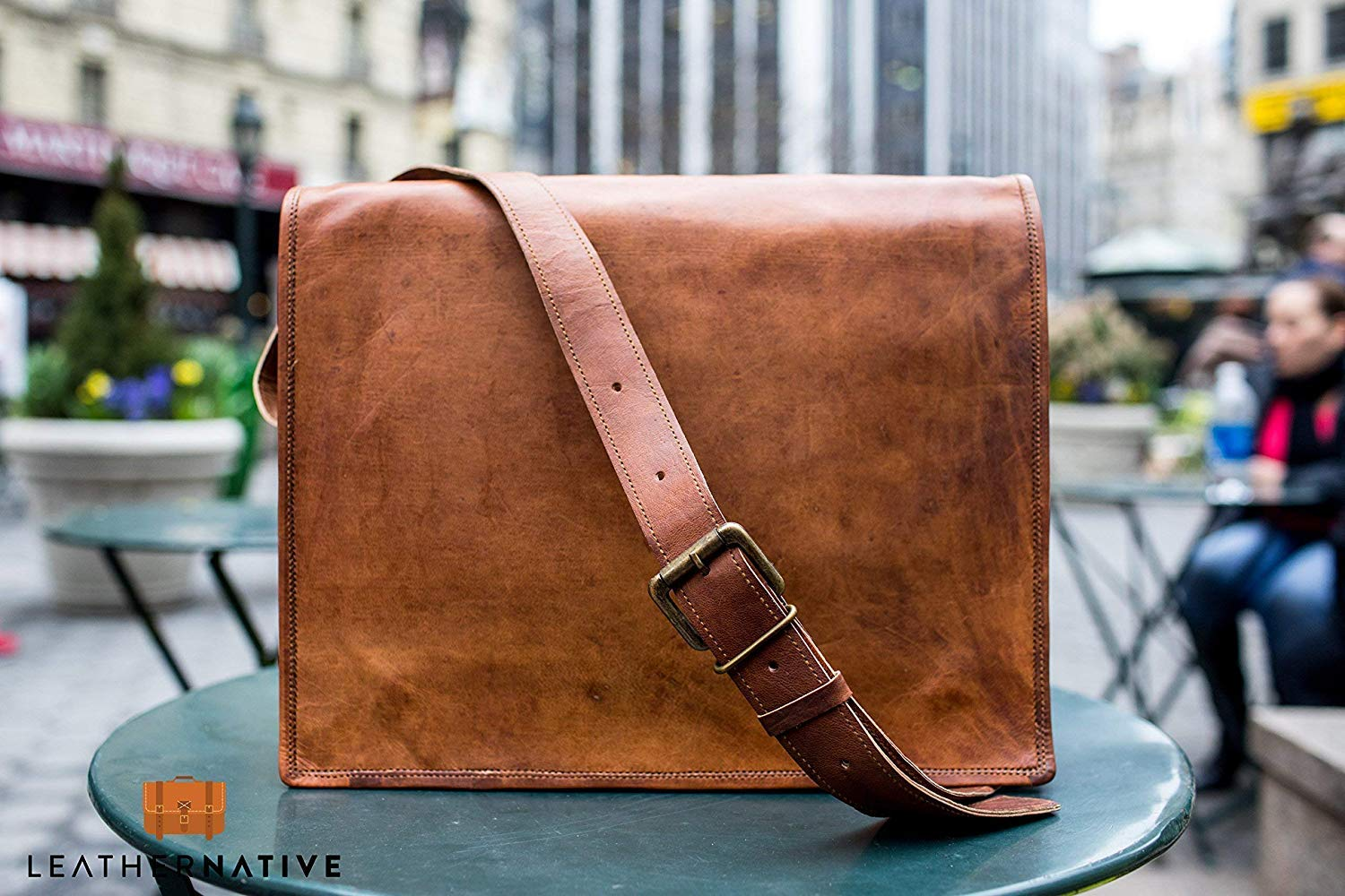 Leather Messenger Bag Courier Satchel - 15 inch Handmade, Takes a Small Laptop or iPad - Handsome Rich Patina Improves with Age, Retro Looks with Brass Fittings - Crossbody Fit for Men and Women