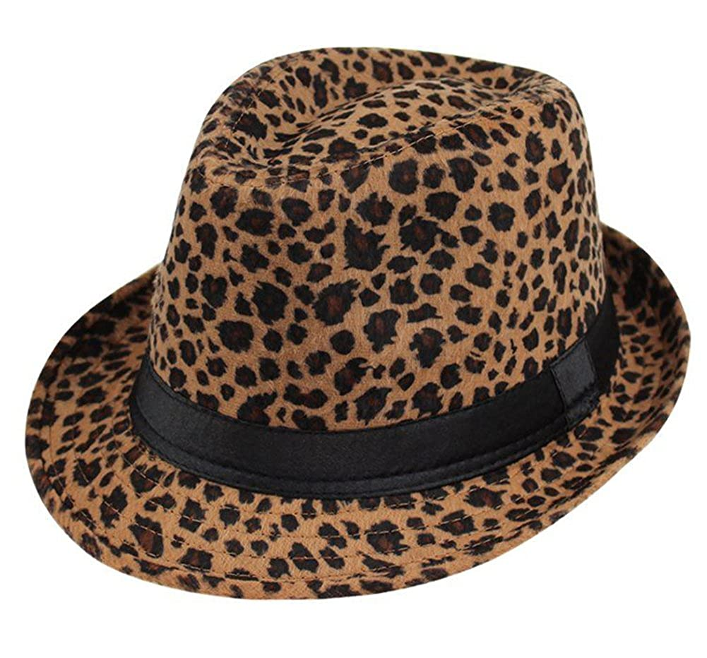 95211edeeb024 Amazon.com  Summerwhisper Women s Men s Wool Leopard Fedora Trilby Hat Cap  Unisex Red  Clothing