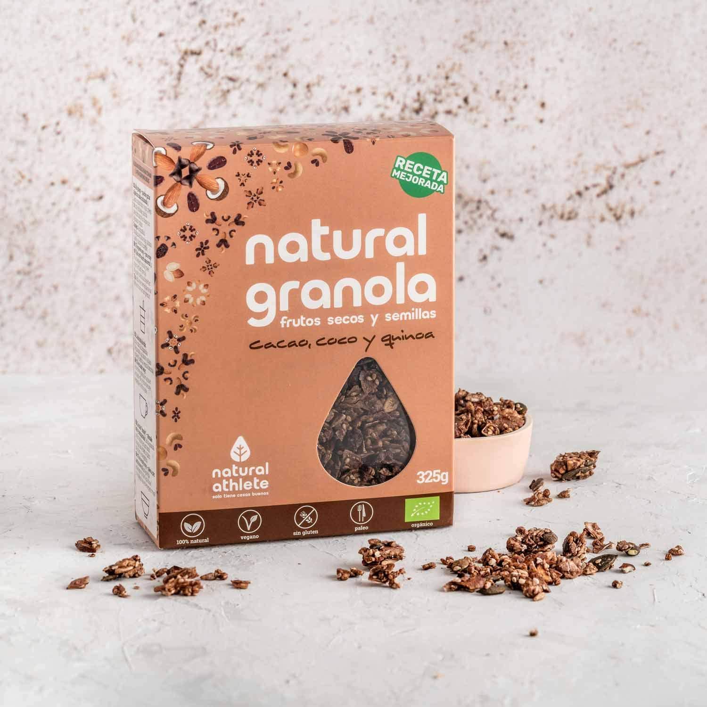 Granola Natural Athlete, Cacao, Coco Quinoa, Frutos Secos y ...