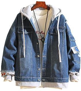 Oversized Men Wash Denim Jeans Jacket Fashion Short Holes Coat Long