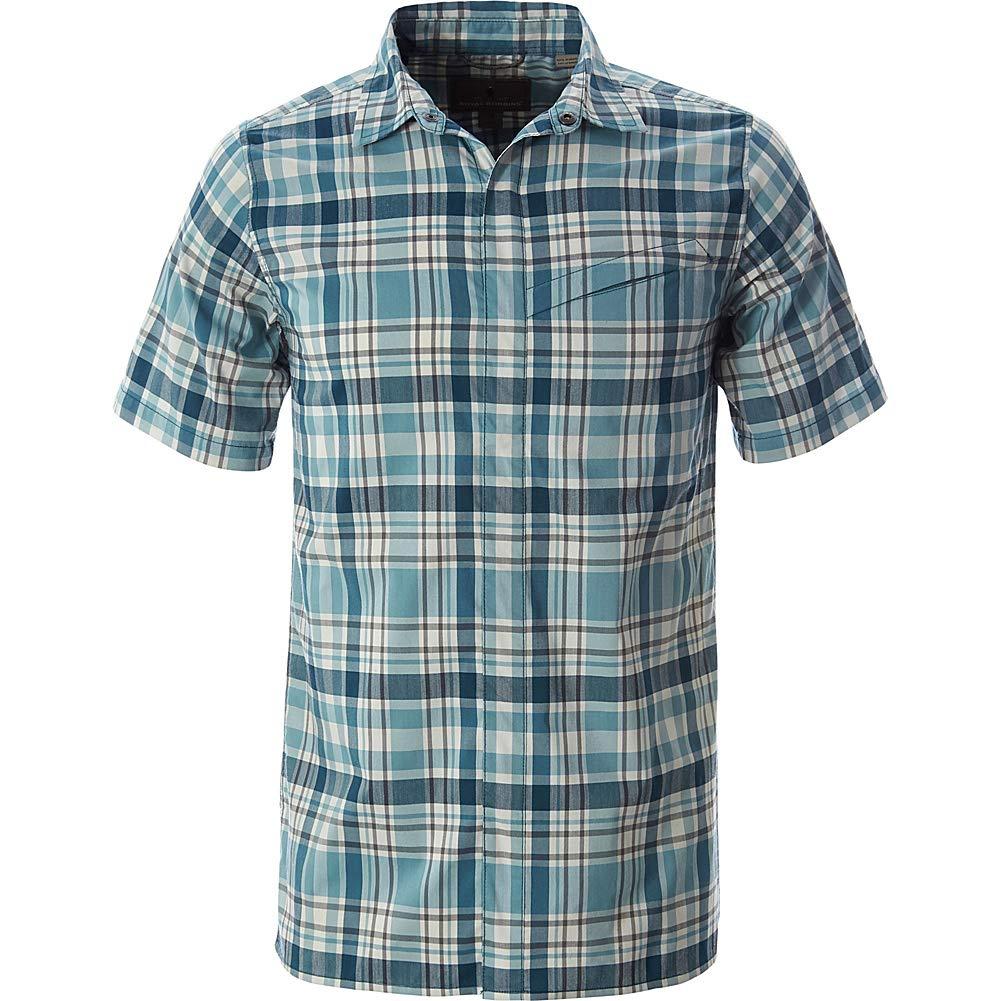 Royal Robbins Mens Monument Plaid Short Sleeve Shirt Legion Blue Medium