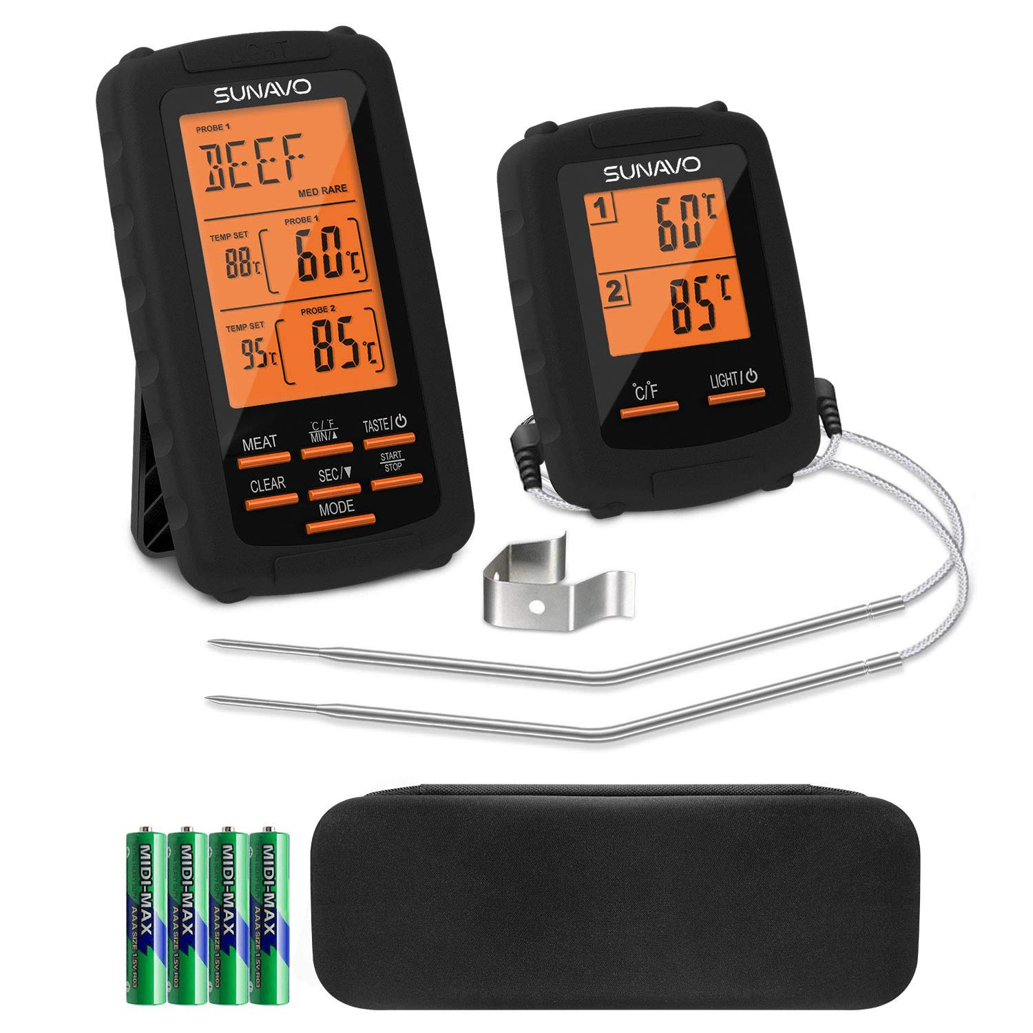 SUNAVO Meat Thermometer for Grilling Wireless BBQ Thermometer Digital Smoker Dual Temperature Probe by sunavo