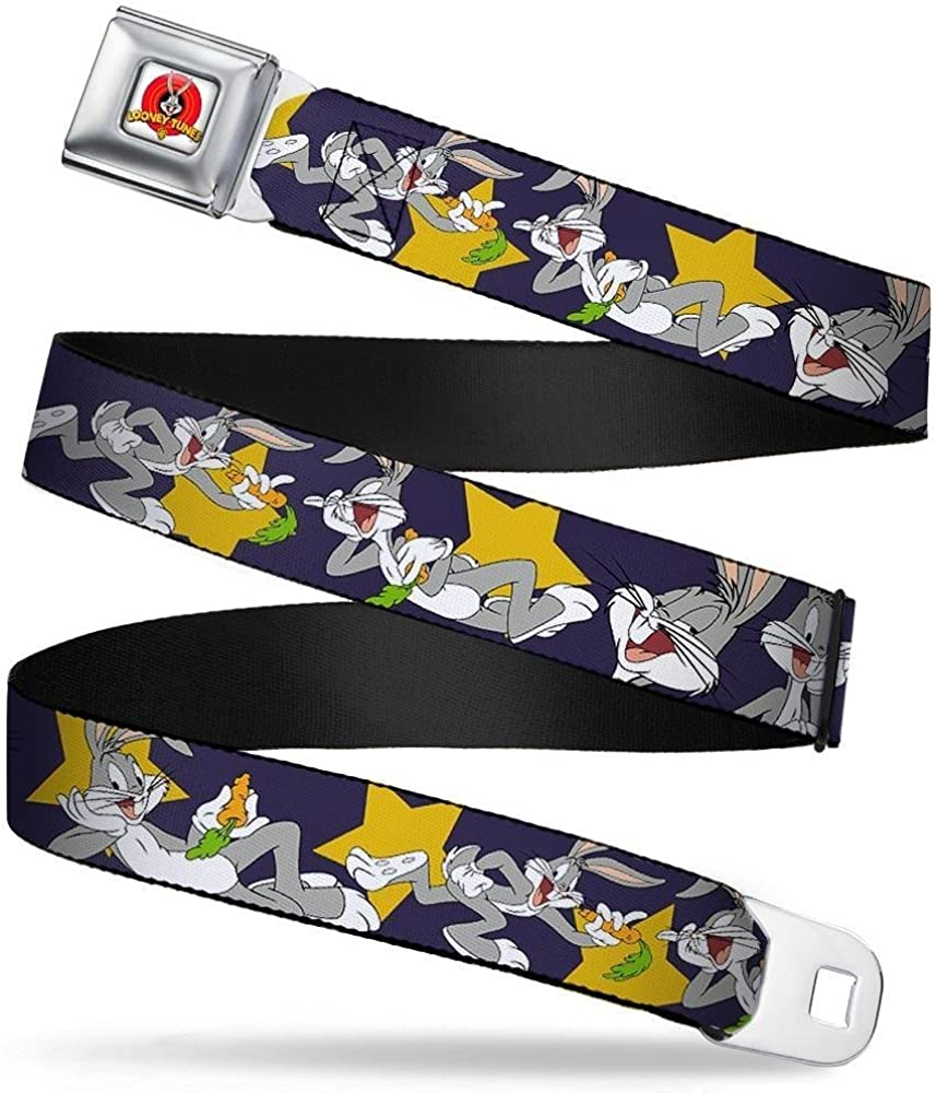 Bugs Bunny Poses//Stars Navy Buckle-Down Seatbelt Belt 32-52 Inches in Length 1.5 Wide