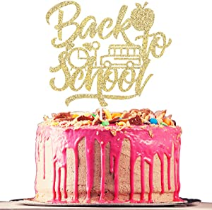 Belrew Back to School Cake Topper, First Day of School, New Grad Homecoming Day, Classroom Decorations, School Classroom Party Supplies-Gold Glitter