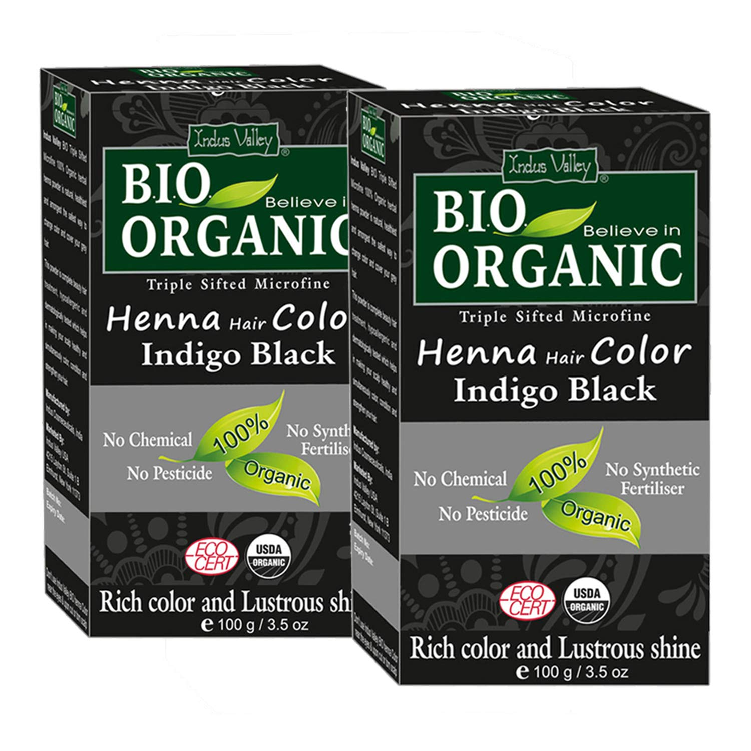 Indus Valley Bio Organic Micro fine Triple Shifted Premixed Henna Hair color with Organic Indigo for Rich Color & Lustrous Shine (Indigo Black -Twin Pack) 200 gm by INDUS VALLEY