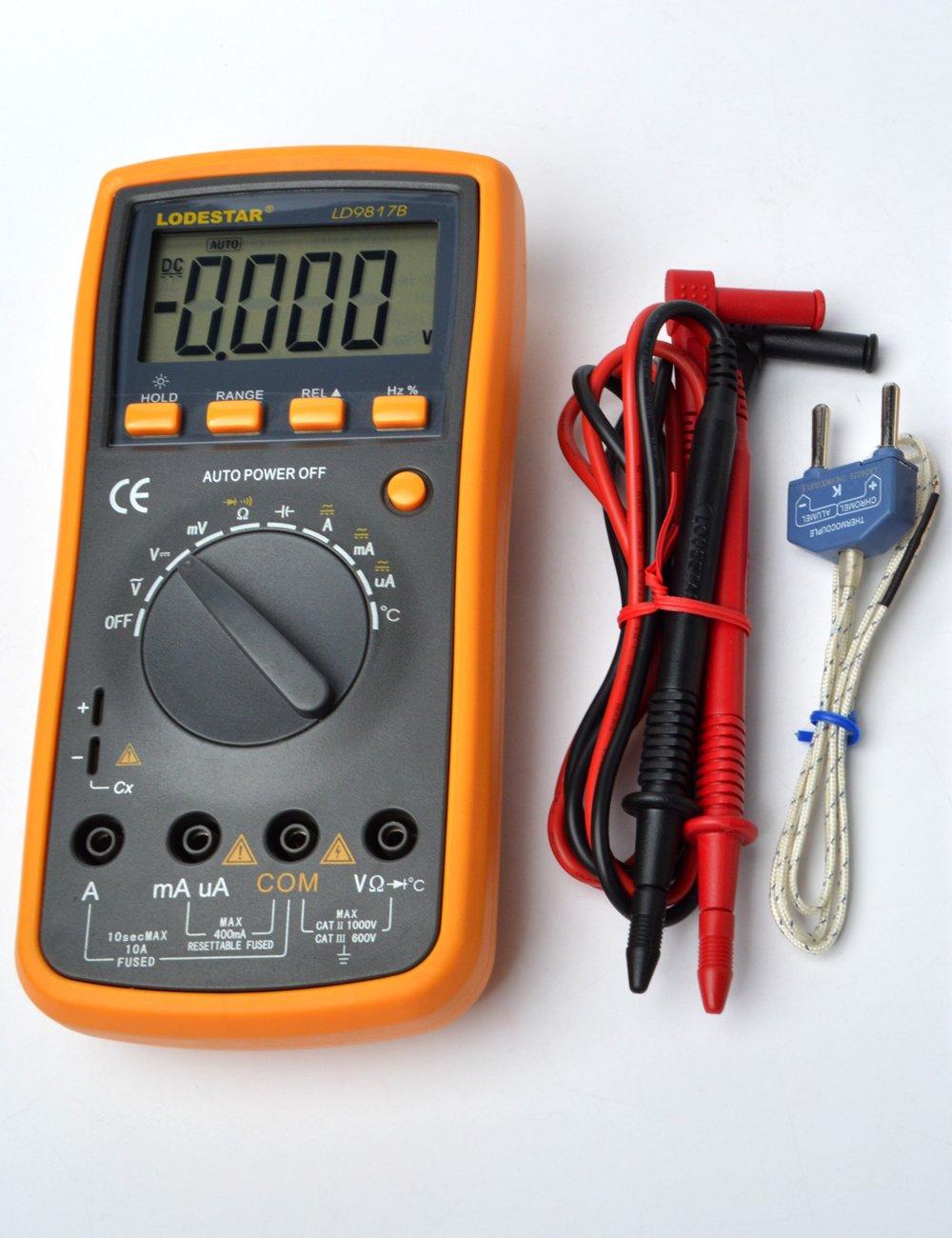 LODESTAR LD9817B Mini Multim/ètre Digital- Multi testeur avec Ecran LCD R/étro/éclair/é et un kickstand Tension AC//DC gamme//mise hors tension automatique Courant AC//DC Multim/ètre Num/érique Portable