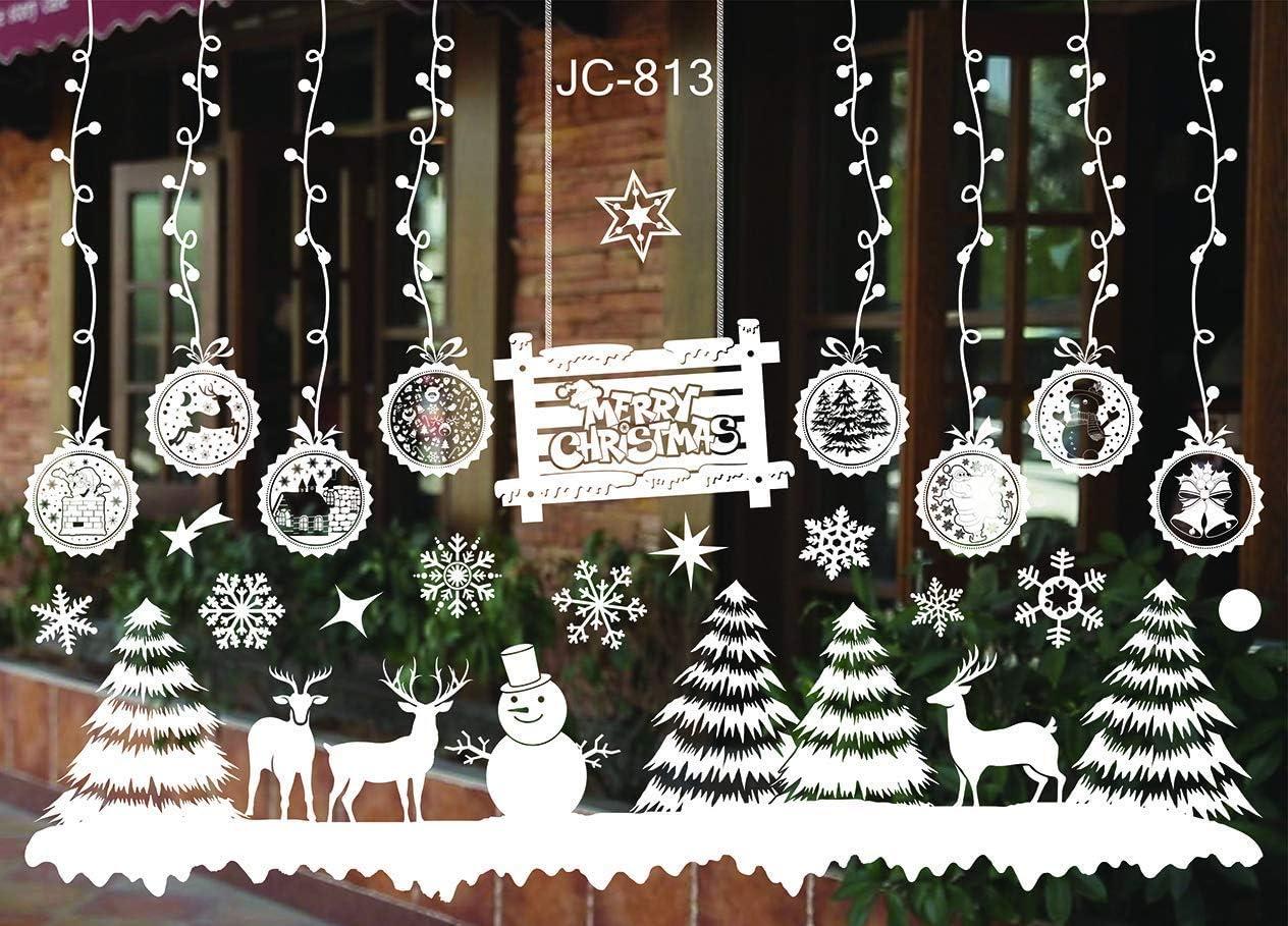 Sinwind Pegatinas Navidad para Ventanas, Decoracion de Navidad Pegatinas Ventana Navidad Adornos de Navidad para escaparates de la Ventana Extraíble PVC Pegatinas Electrostáticas