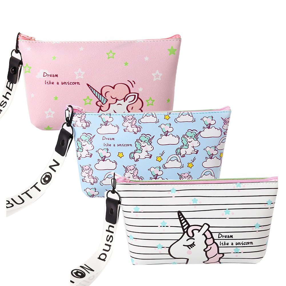 Unicorn Makeup Bag,Travel Cosmetic Organizer Portable Pencil Holder Pouch PU Leather Handbag Brush Storage Case for Women Purse,3 Pcs
